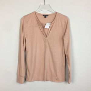 J.Crew Mercantile | Pink peach Popover tee shirt M